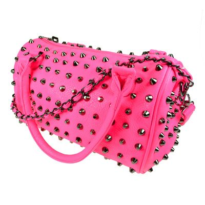 Anarchy fake leather bag with spikes pink - Gothic Metal Glamrock www.attitudeholland.nl