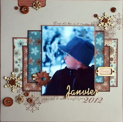 Winter page - very pretty, perfect for a boy. I love each patterned paper seems to be either chalked or matted.