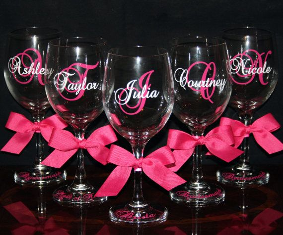 Personalized Wine Glasses for Bridesmaids | Personalized Bride and Bridesmaid Wine Glasses – Cute Wedding Gift ...