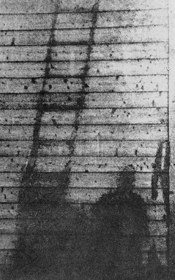 BOMB DROPPED ON HIROSHIMA JAPAN on August 6, 1945 (shadow left by a Hiroshima citizen who had been working at 8:15 when the bomb was dropped)