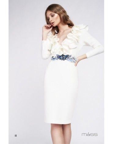 4fbfa3c05 Matilde Cano vestido neopreno blanco volantes Matilde Cano vestido color  blanco de neopreno con volantes en