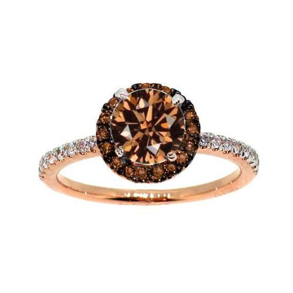 1 Carat Chocolate Brown Diamond Floating Halo by MondiFineJewelry