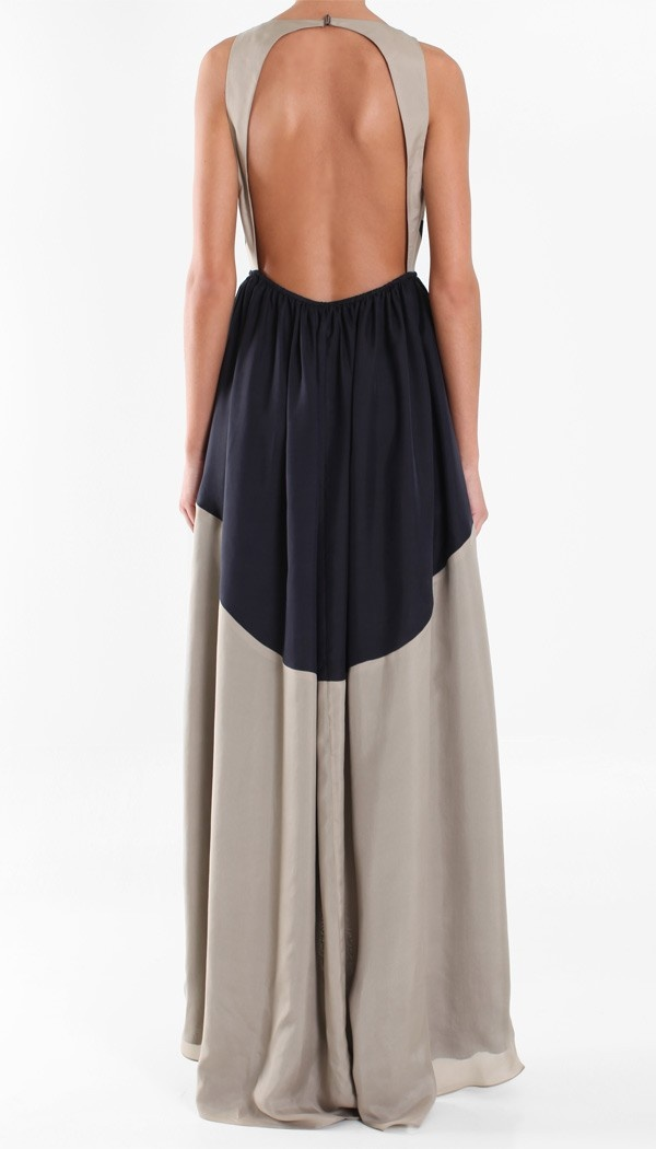 sleeveless color block long gown with deep open back #adore