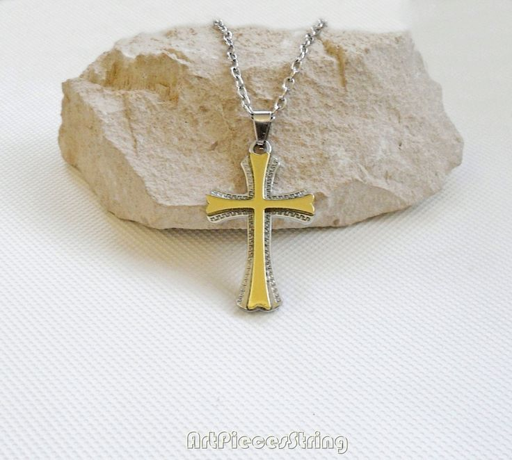 Stainless steel cross necklace, chain necklace cross silvery, golden cross necklace, male necklace cross, necklace female cross stainless, by ArtPiecesString on Etsy