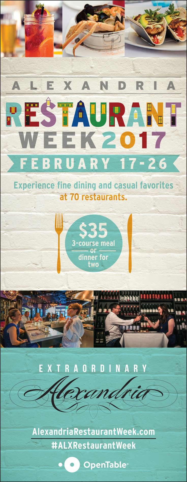 Alexandria Restaurant Week is on February 17-26, 2017. Check out 70 restaurants with special menus!