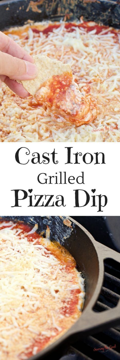 Cast iron grilled pizza dip recipe. Outdoor grilling means it is time for cast iron grilled pizza dip! This easy appetizer skillet recipe will have you scraping the cast iron pan for every last gooey dip.