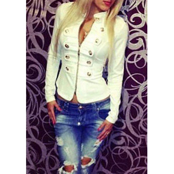 Fashionable Stand Collar Double-Breasted Zipper Long Sleeve Women's Jacket