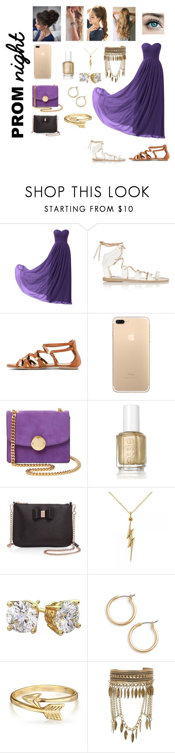 """Prom Night: Greek Goddess"" by elizabethsolace ❤ liked on Polyvore featuring Remedios, Ancient Greek Sandals, Mossimo, Marc Jacobs, Essie, Ted Baker, Allurez, Nordstrom, Bling Jewelry and New Look"