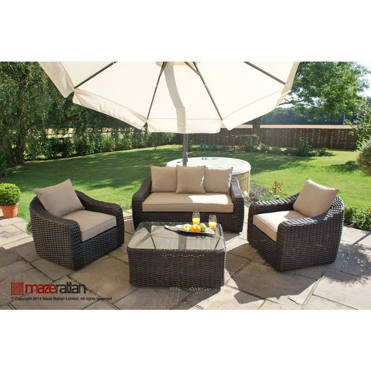 Maze Rattan   Natural Milan Rounded 4 Seater Sofa Set Beige Cushions. 78 best Garden Furniture images on Pinterest   Garden furniture