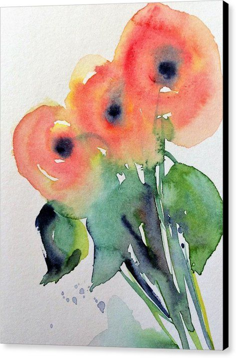 Poppy Flowers Canvas Print featuring the painting abstract Poppy flowers by Britta Zehm