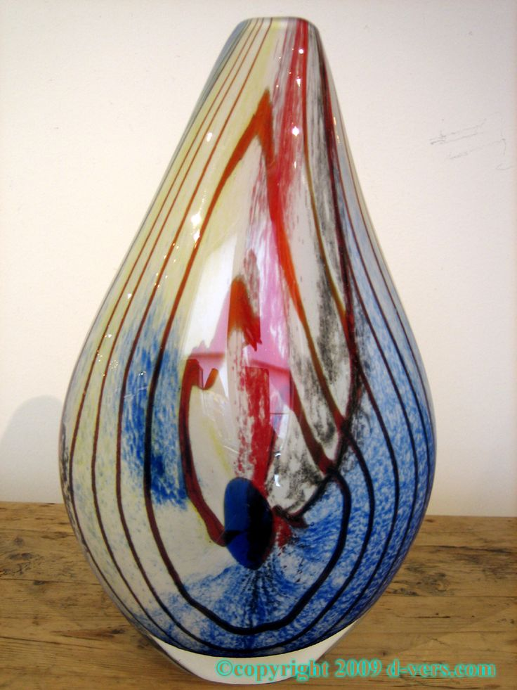 Murano Art Glass Vase Of Multi Colored Glass 20th Century