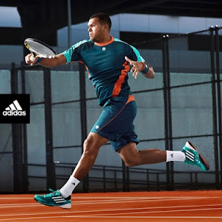 Jo-Wilfried Tsonga's Clay Court Kit in power green by adidas.  #tennis