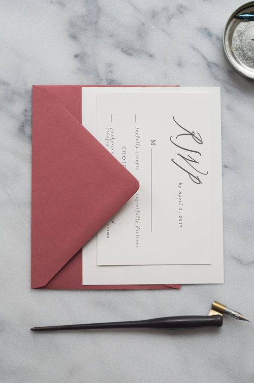 Minimalist calligraphy reply card by Ettie Kim Calligraphy & Design  https://www.ettiekim.com/shop/printable-bianca-semi-custom-invitation-suite