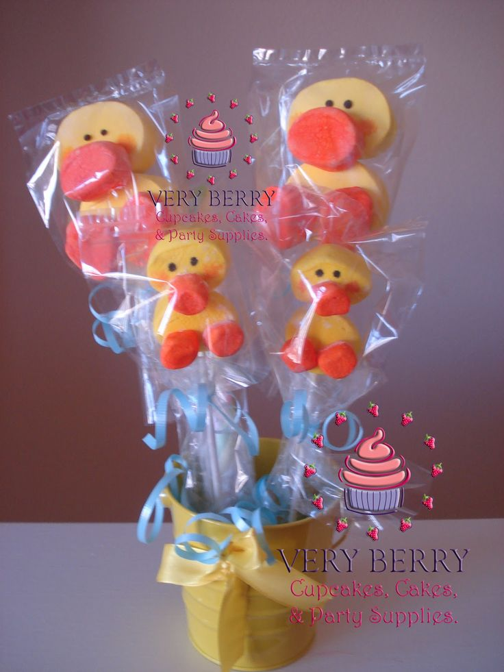 Marshmallow+Pops+for+Baby+Shower | DUCKIE MARSHMALLOW POPS CENTER PIECES