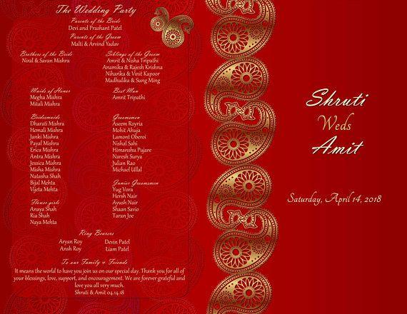 Hindu Wedding Program Hindu Ceremony Program Template Etsy Ceremony Program Template Wedding Infographic Wedding Programs