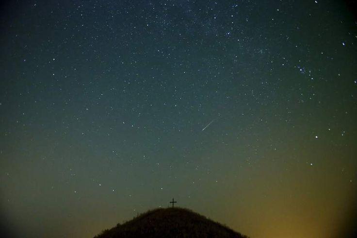 The Perseid meteor shower over Leeberg hill near Grossmugl, Austria on Aug. 13, 2015.