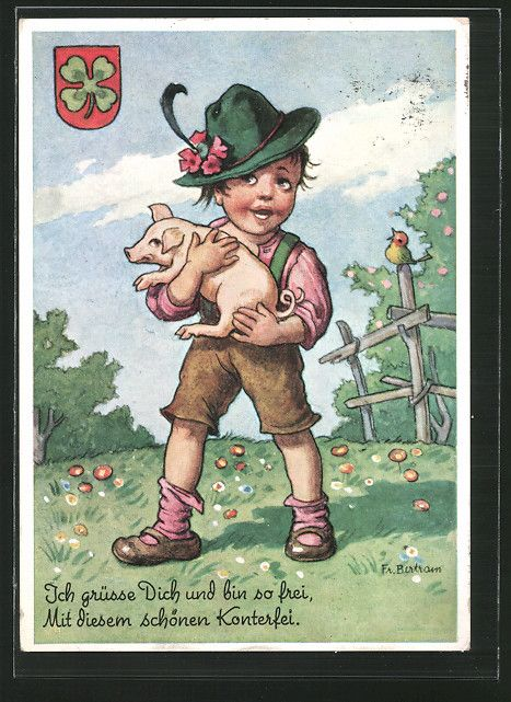 carte postale ancienne: CPA Illustrateur sign.F. Bertram: Junge avec Ferkel en costume typique