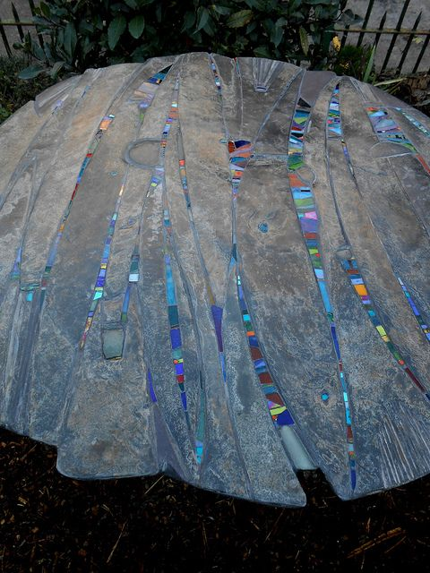 FABULOUS! Slate, glass, mosaic / Piscatus garden table | Helen Nock | repinned on toby designs