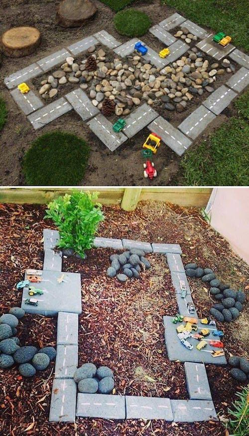 Use concrete bricks to make a DIY race track that your kids will LOVE! So easy