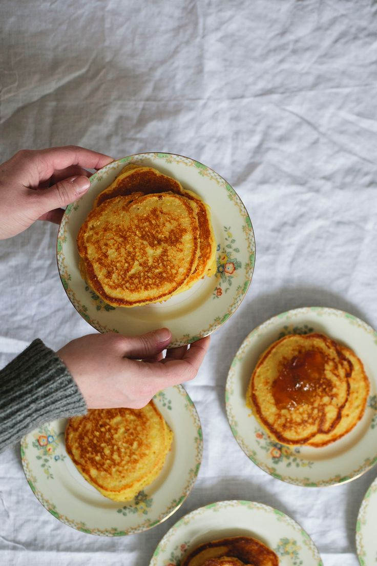 hoecakes with cream cheese and golden plum jam.