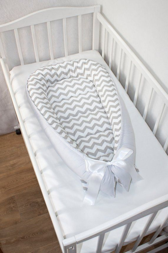 White Baby Bed With Gray Chevron Gray Baby Nest Bed Gray Babynest
