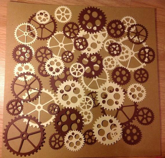 Environ 50 engrenages rouages steampunk découpes scrapbooking