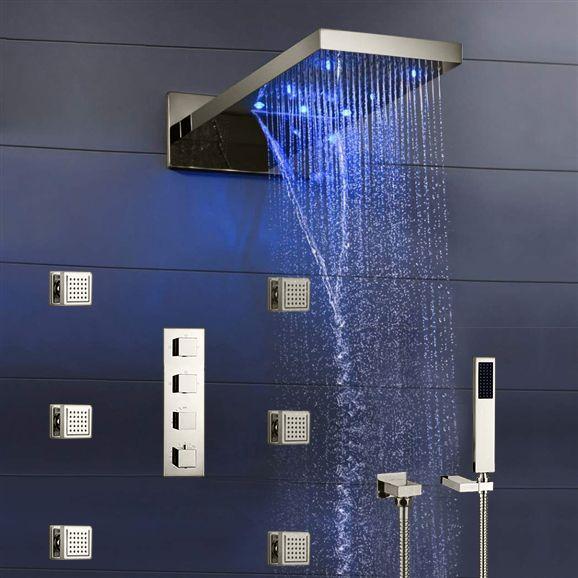 Shower Sale Fontana Mugla 22 Brushed Nickel Led Thermostatic
