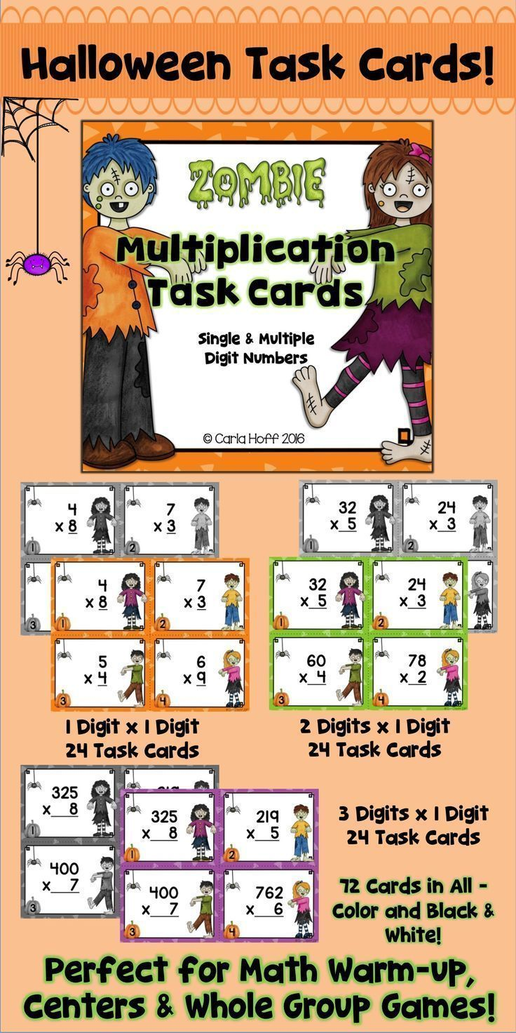 Halloween No Problem Kids Will Love Practicing Multiplication Using These Halloween Task Cards Wit Task Cards Halloween Task Cards Multiplication Task Cards [ 1472 x 736 Pixel ]