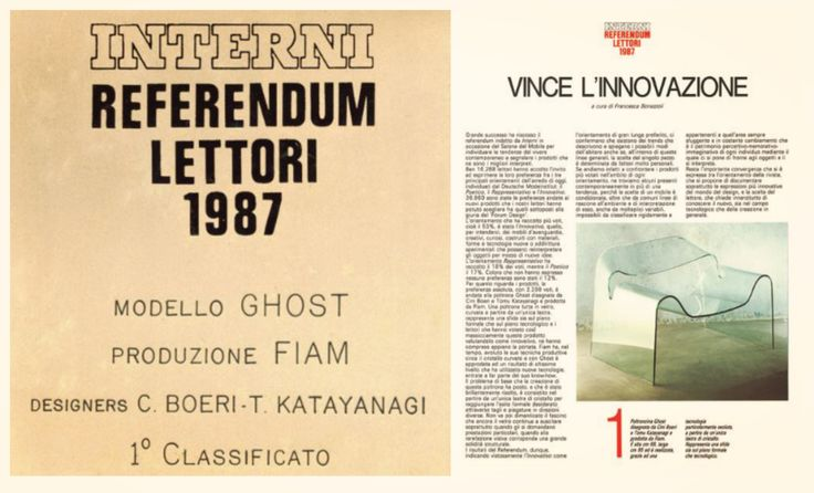"On Interni magazine: 1st ""Readers referendum"" award, for Ghost chair, 1987. #Fiam #Ghost #CiniBoeri #madeinitaly #furniture #glass #interiordesign #design www.fiamitalia.it/"