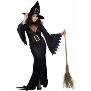 Zwarte heksen outfit dames. Getailleerde lange jurk met grote gesp om de taille, met hoed. Op www.shopwiki.nl #verkleden #halloween #thema #carnaval