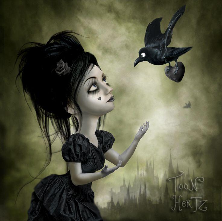 Dead Heart by ~THZGoth Girls, Artists, Cartoons Art, Digital Artworks, Toon Hertz, Dark Art, Dead Heart, Crows, Ravens