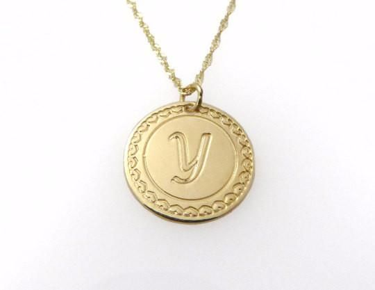 14k solid gold necklace. Initial pendant. Letter charm necklace. Personalized necklace. Gold pendant necklace. initial necklace.Gift ideas