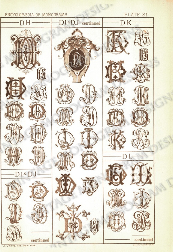 Monograms DH through DL - page scan from vintage monogram book