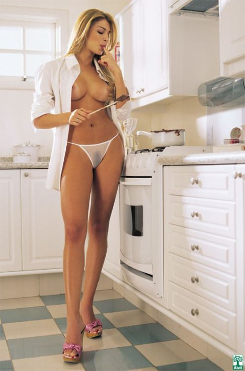Naked lady cooking-9601