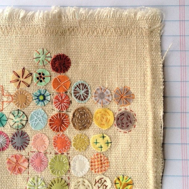 Embroidery by Rebecca Sower i could make this with old linen bits and vintage fabric