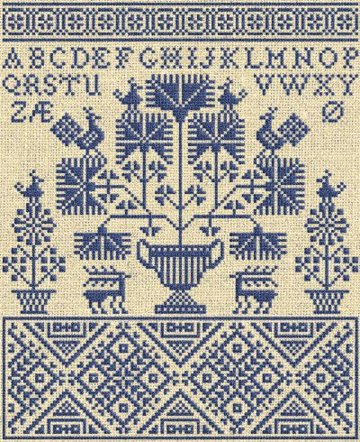 This lovely Danish cross-stitch #embroidery sampler features the Danish Alphabet and has a definitively Nordic look. 'Letters from the North, No. 3'  is an instant Download PDF Pattern available via Etsy.
