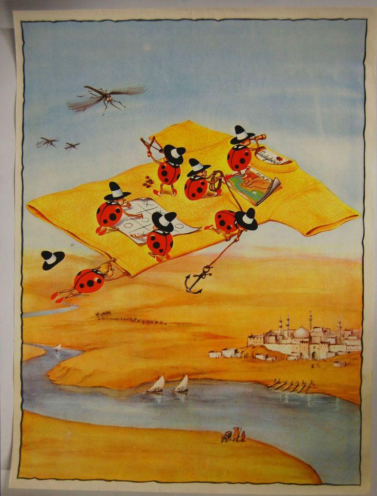 Original 1970s Vintage Ladybird Childrens Advertising Poster Flying Carpet