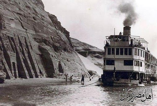 A rare picture of the temple of Abu Simbel in its original location in Aswan in 1930