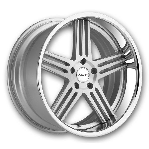 TSW Wheels Nouvelle 2Pc 20x8.5 Silver Brushed w/ SS Lip High Offset - Wheel and Tire Package (TSW-Rims-NOUVELLE-20-85SSSH)