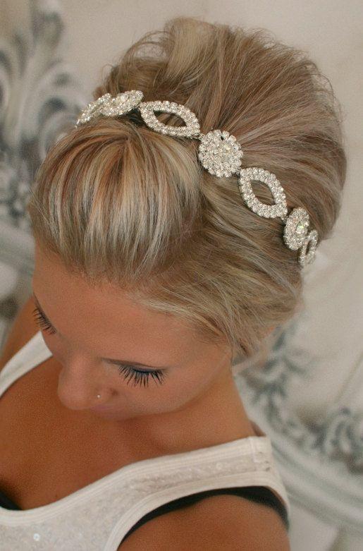 Bridal Headband Bridal Head Piece CRYSTAL Rhinestone by BrassLotus, $46.95