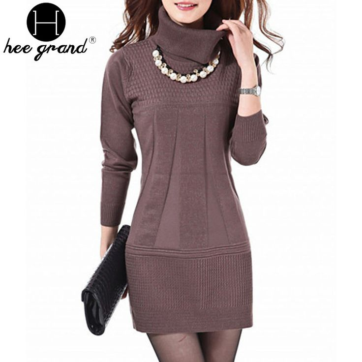 2016 Fashion Women Knitted Dress Ladies Casual Turtleneck And O-neck Plus Size O-Neck Women Plus Size Winter Dresses WZQ039