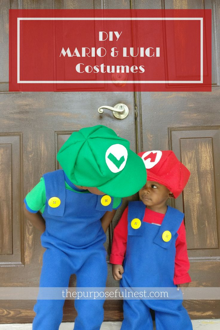 Make easy DIY Mario Brothers costumes using these instructions for cute matching costumes. Little to no sewing skills needed.