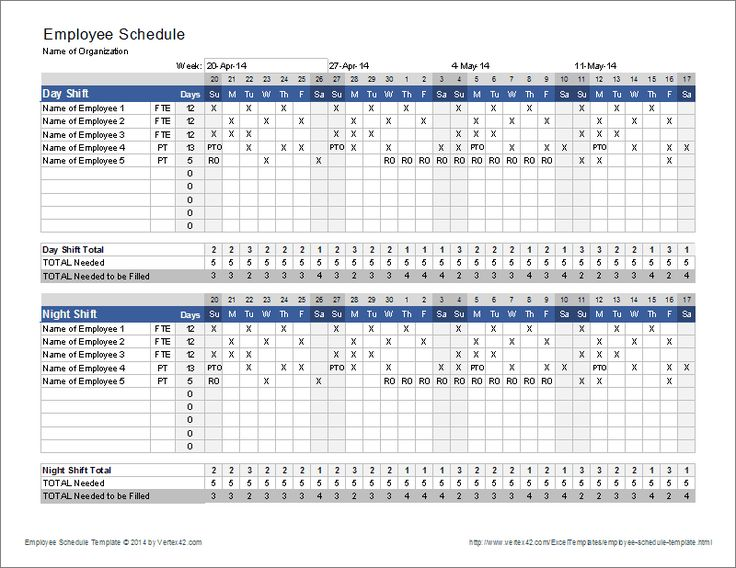 Download a free Employee Schedule Template for Excel to create a 4 or 6-week shift schedule for multiple employees. Set up for a day/night shift scenario.