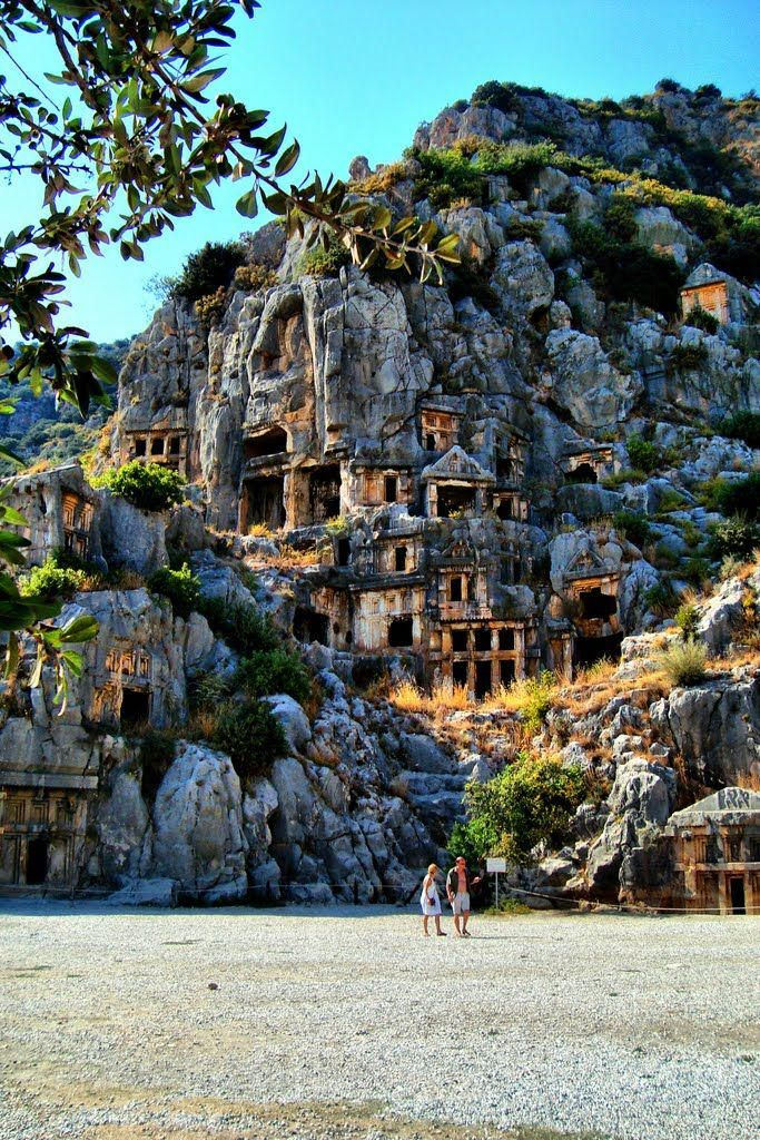 Astonishing Lycian tombs in Myra, Turkey.                                                                                                                                                                                 More