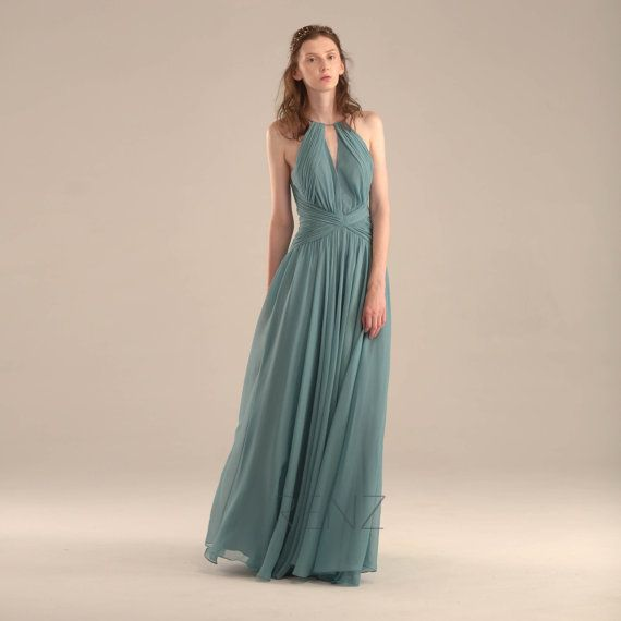 2015 Teal Halter Bridesmaid dress Turquoise Wedding by RenzRags