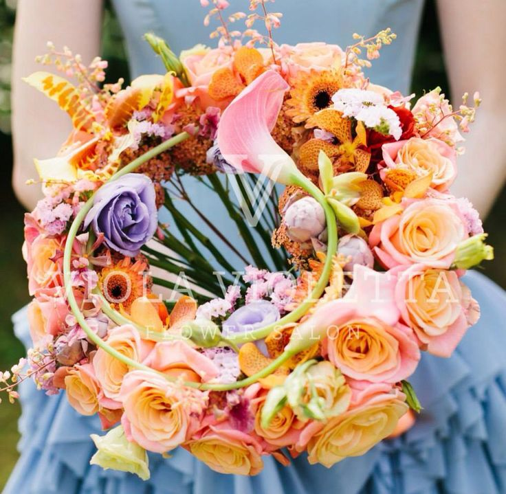 pink and yellow circle of love bouquet