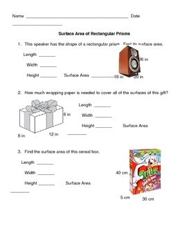 28 best math surface area images on pinterest surface area g surface area of a rectangular prism ccuart Images