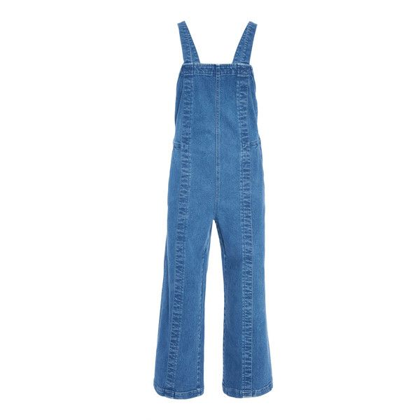 Carmen Denim Overall | Moda Operandi ($420) ❤ liked on Polyvore featuring jumpsuits, bib overalls, flared jumpsuit, cropped jumpsuits, blue jumpsuit and blue denim overalls