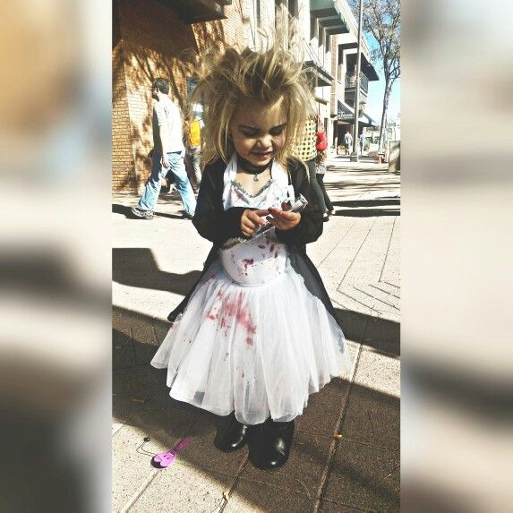 Bride of chucky. Halloween makeup. Halloween outfit. Toddler costume.