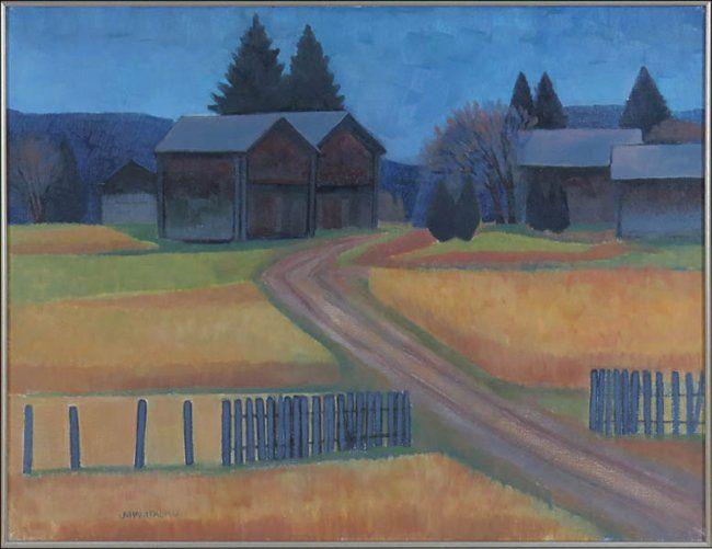 Juhani Palmu (FINNISH, B. 1944) Entrance to a Farmyard : Lot 133-6088 #finnish #fineart #farmyard